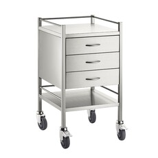 Single Instrument trolley with Rail - 3 Drawers & 1 Shelf